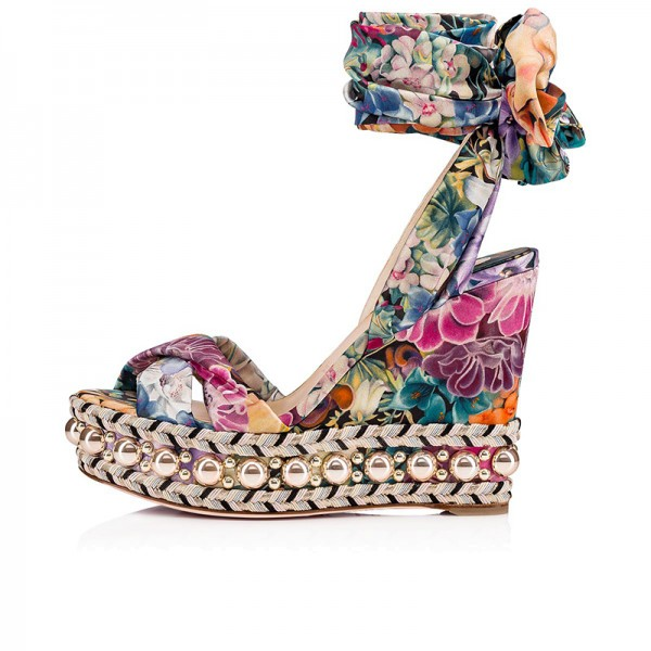 Colorful Satin Floral Heels Ankle Strap Platform Wedge Heel Sandals image 2