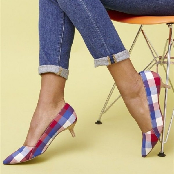 Multicolor Plaid Kitten Heels Low Heel Pumps image 1