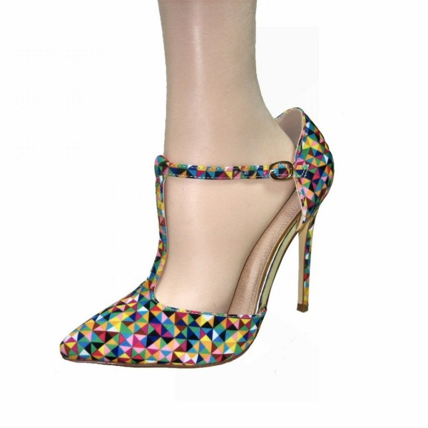 Colorful T Strap Pumps Pointy Toe Stiletto Heels image 1