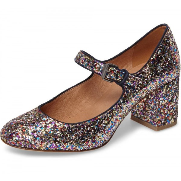 Colors Glitter Block Heels Round Toe Mary Jane Pumps image 1