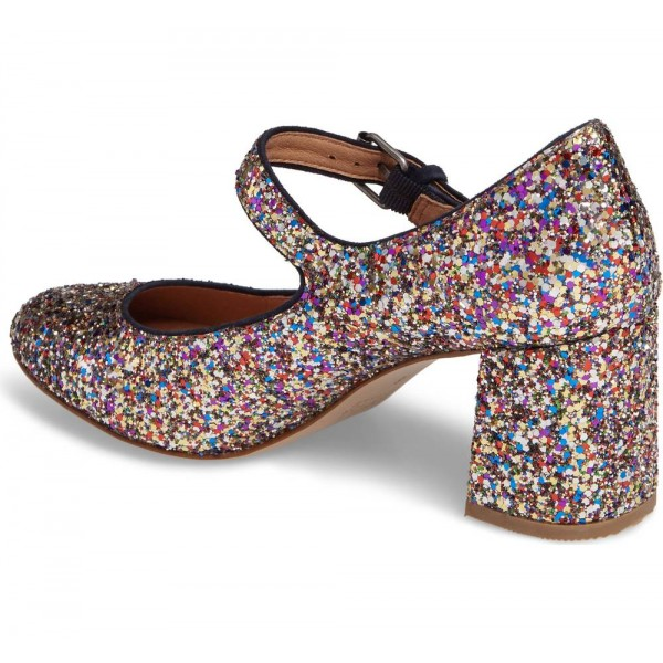 Colors Glitter Block Heels Round Toe Mary Jane Pumps image 3