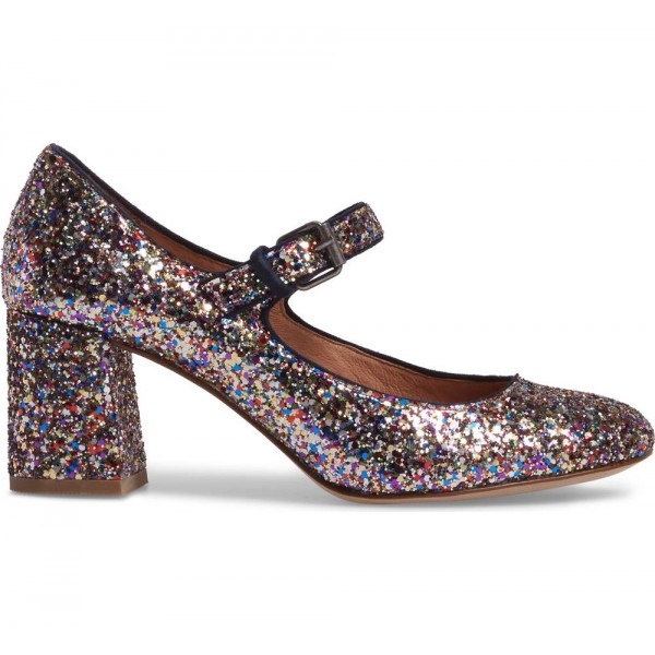 Colors Glitter Block Heels Round Toe Mary Jane Pumps image 2