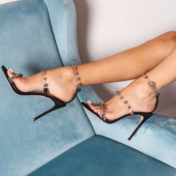 Colors Rhinestone Clear Heels Stiletto Heels Strappy Sandals image 3