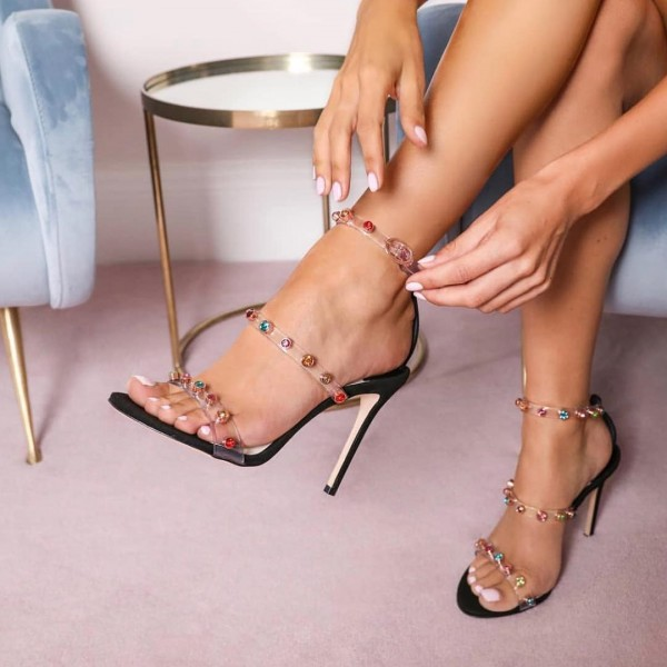 Colors Rhinestone Clear Heels Stiletto Heels Strappy Sandals image 1
