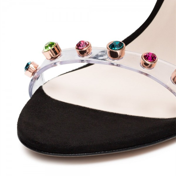 Colors Rhinestone Clear Heels Stiletto Heels Strappy Sandals image 5