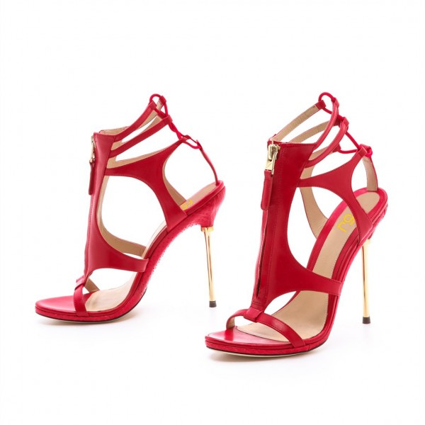 Coral Red Stiletto Heels Dress Shoes Caged Gold Heels Sandals image 5