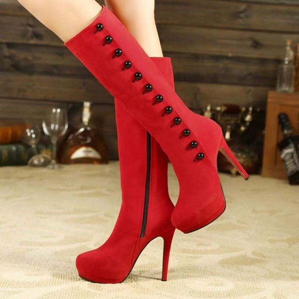 Coral Red Buttons Stiletto Boots Platform Mid-calf Boots image 1