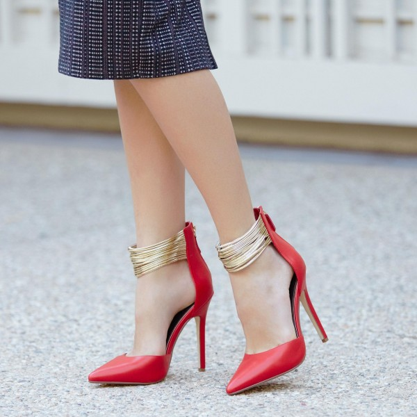 Coral Red Gold Ankle Strap Heels Pointed Toe Stiletto Heels Pumps image 1