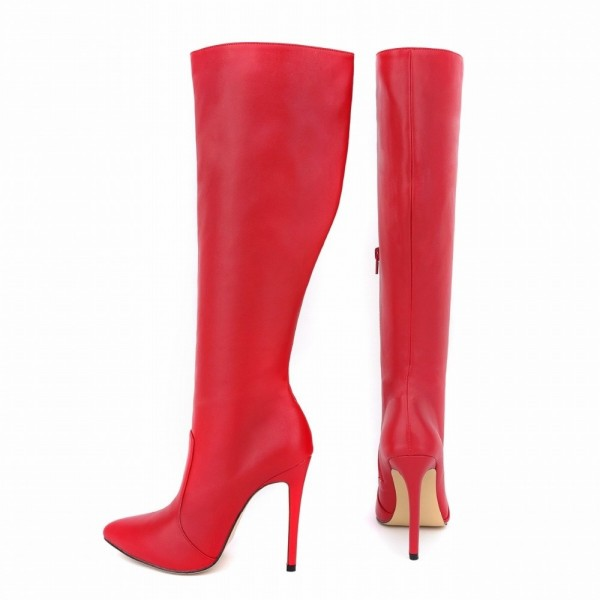 Red High Heel Boots Pointy Toe Stiletto Heel Wide Calf Knee Boots image 1