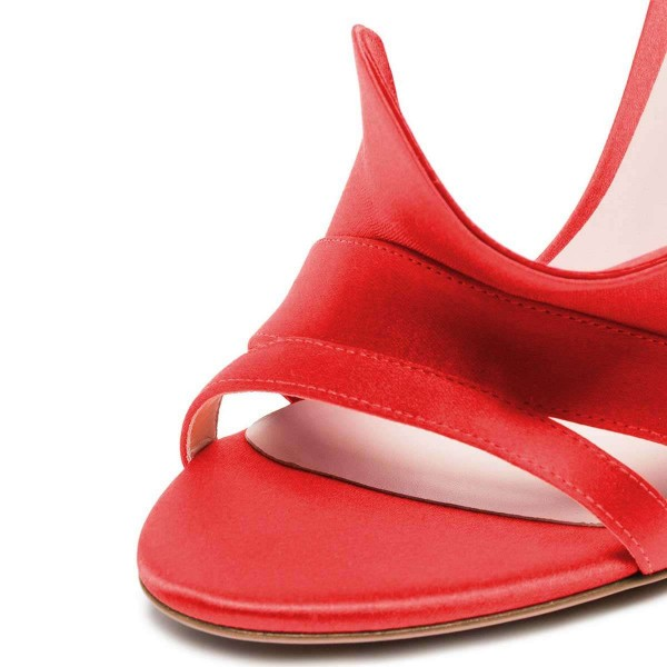 Coral Red Satin Slingback Heels Sandals image 4