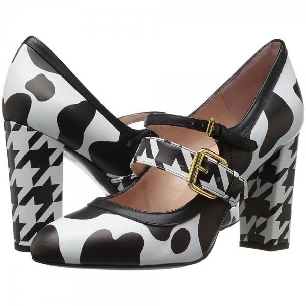 Cow and Houndstooth Printed Black and White Heels Mary Jane Pumps image 1