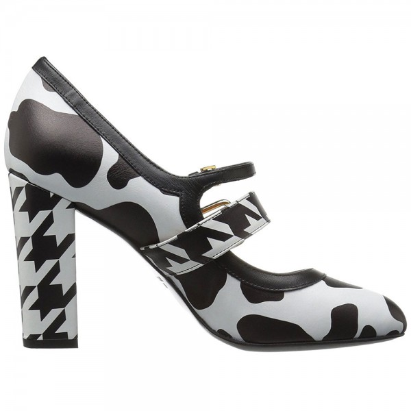 Cow and Houndstooth Printed Black and White Heels Mary Jane Pumps image 2