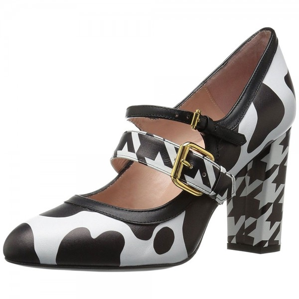 Cow and Houndstooth Printed Black and White Heels Mary Jane Pumps image 4