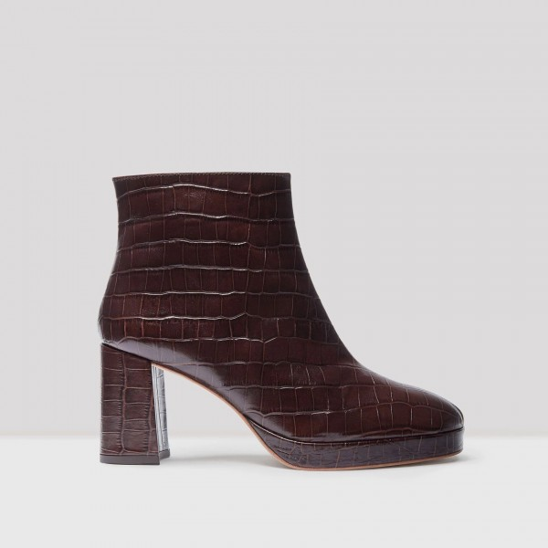 Maroon Textured Vegan Leather Chunky Heel Boots Round Toe Ankle Boots image 2
