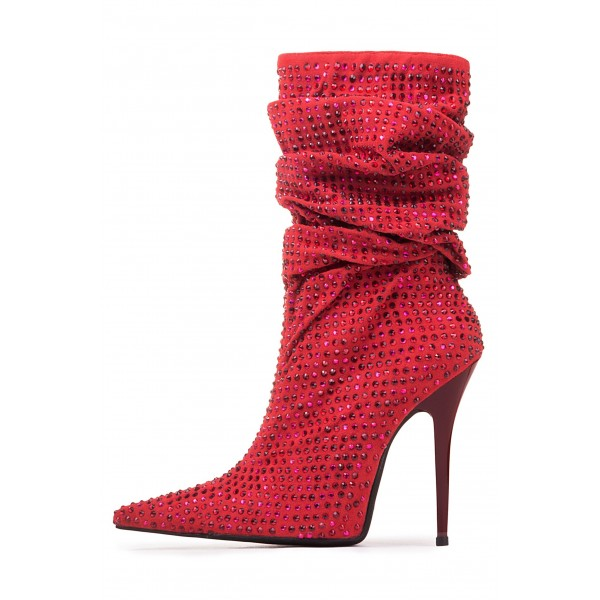 Red Slouch Boots Pointed toe Strass Hotfix Stiletto Booties  image 3