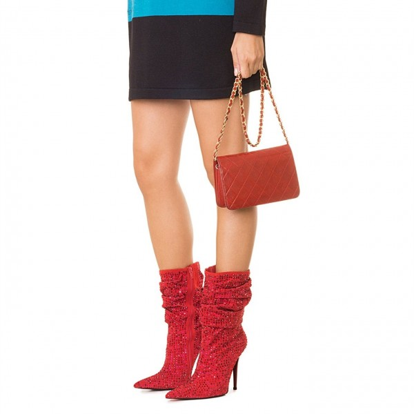 Red Slouch Boots Pointed toe Strass Hotfix Stiletto Booties  image 2