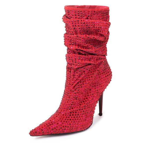 Red Slouch Boots Pointed toe Strass Hotfix Stiletto Booties  image 1
