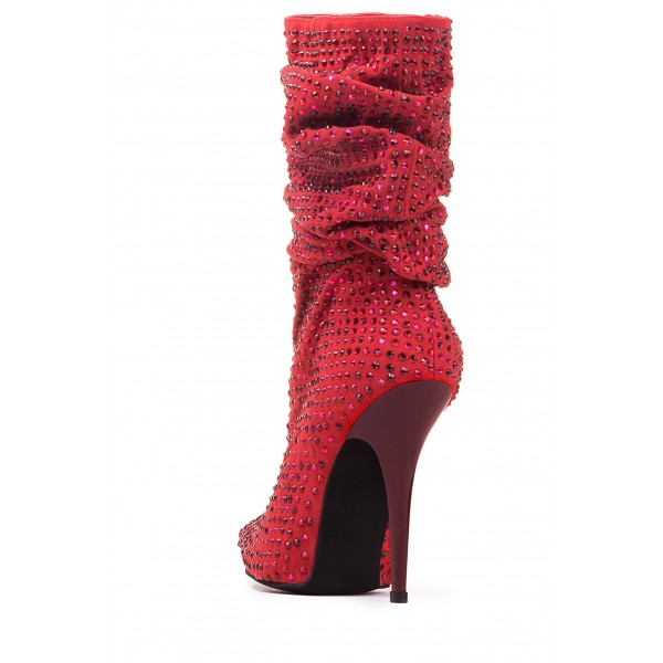 Red Slouch Boots Pointed toe Strass Hotfix Stiletto Booties  image 4