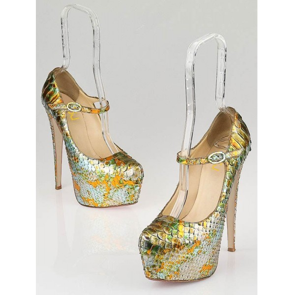 Colorful Python Mary Jane Stiletto Heel Platform Pumps image 3