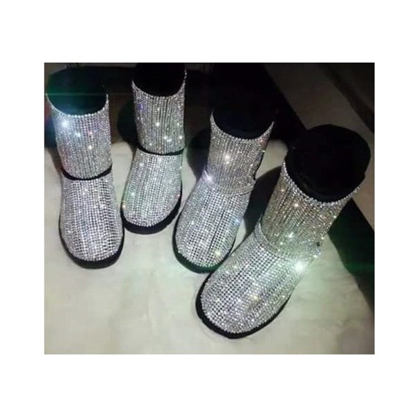 Silver Comfortable Flats Sequined Slip-on Flat Snow Fashion Boots image 1
