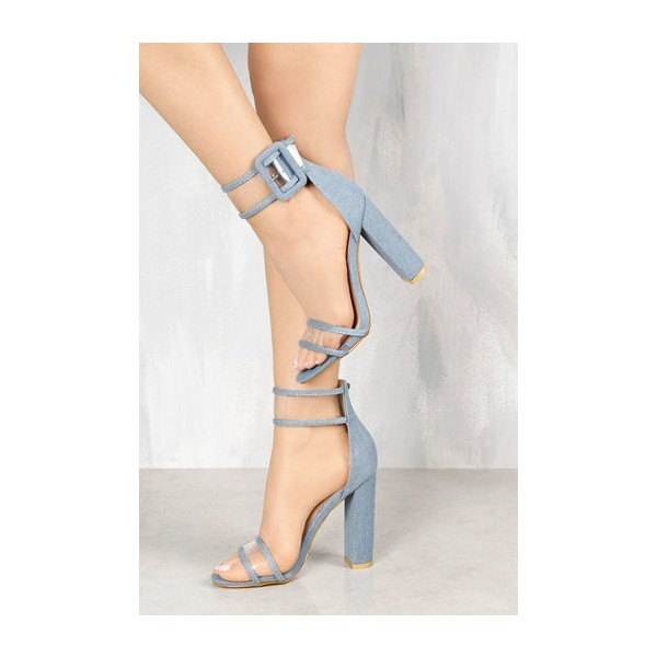Women's Elegant Grey Open Toe Chunky Heel Ankle Straps Sandals image 1
