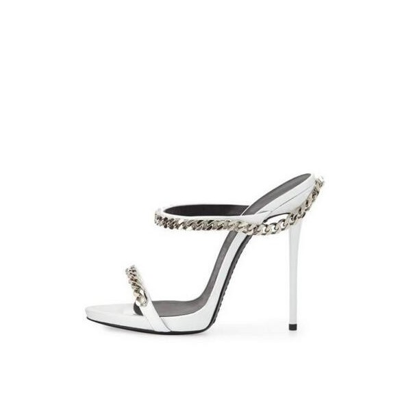 Women's Silver Open Toe With Chain Stiletto Heels Pumps Sandals image 2