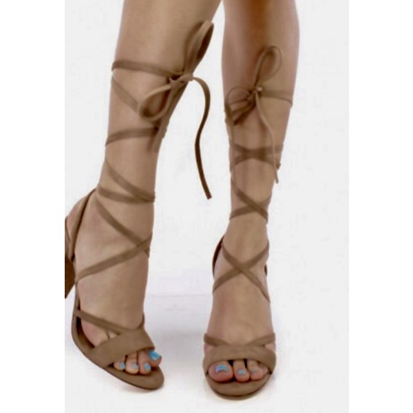 Women's Khaki Sling Back Chunky Heel Strappy Sandals image 1