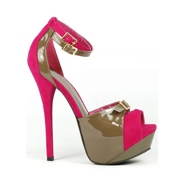 Hot Pink and Brown Ankle Strap Sandals Platform Shoes image 2
