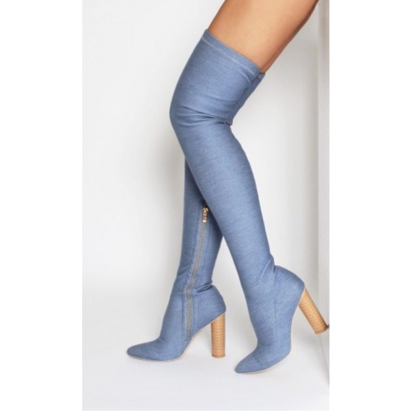Women's Blue Pointy Toe Chunky Heel Over-The- Knee Denim Boots image 1