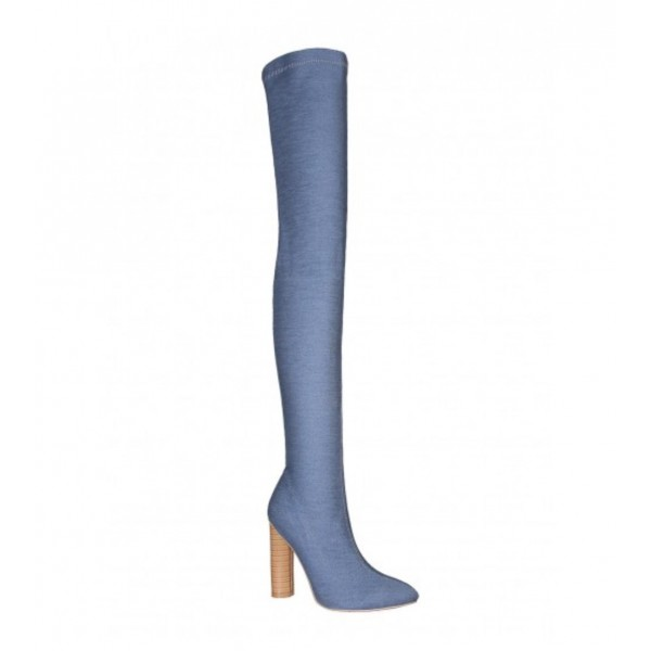 Women's Blue Pointy Toe Chunky Heel Over-The- Knee Denim Boots image 4