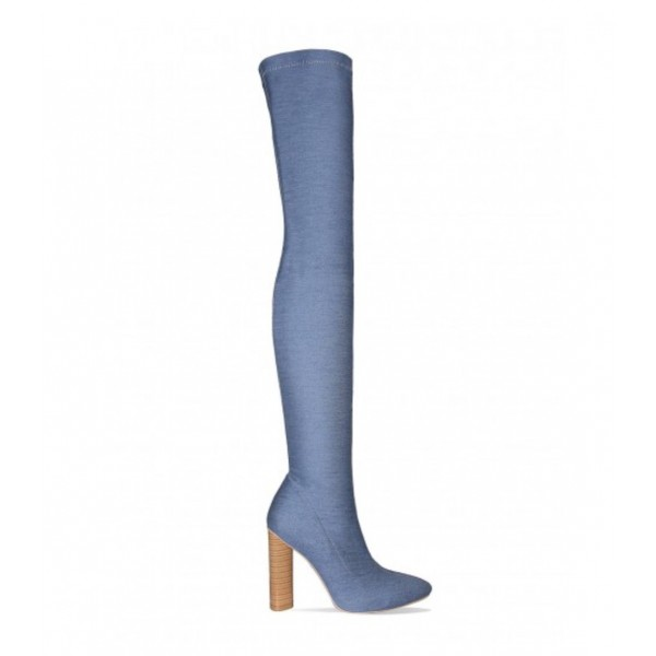 Women's Blue Pointy Toe Chunky Heel Over-The- Knee Denim Boots image 2