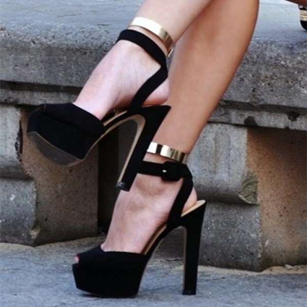 Black and Gold Ankle Strap Sandals Platform Chunky Heels image 1