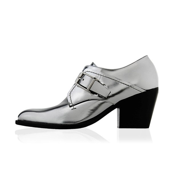 Women's Silver Leather Vintage Round Toe Commuting Oxfords image 1