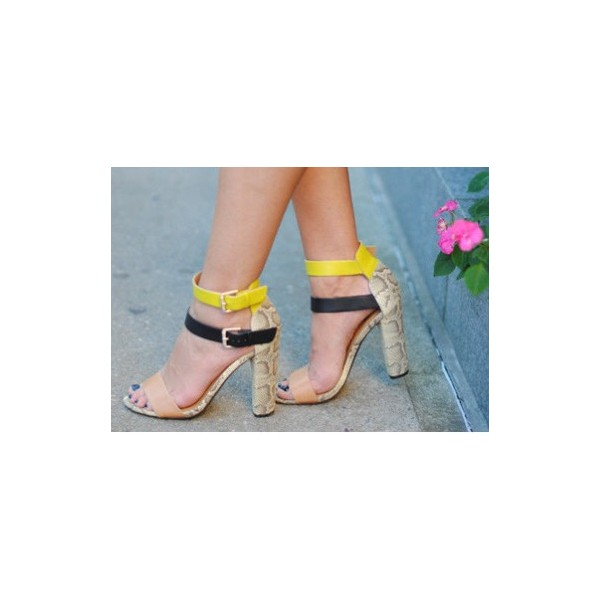 Multi-color Block Heel Sandals Ankle Strap Python Shoes image 1