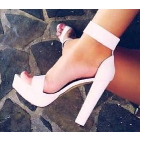 White Elegant Rhinestone Ankle Strap Platform Sandals for Daily Dress image 1
