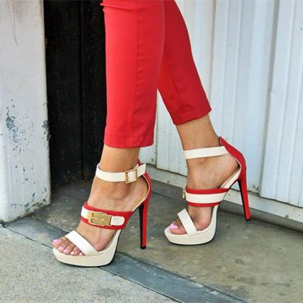 White Golden Buckled Ankle Strap Platform Sandals for Daily Dress image 1