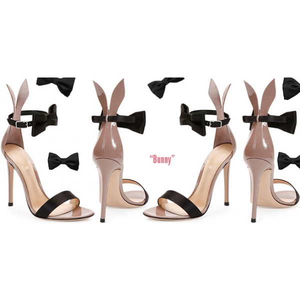 Black Bow Satin Ankle strap Bunny High Heels  image 1