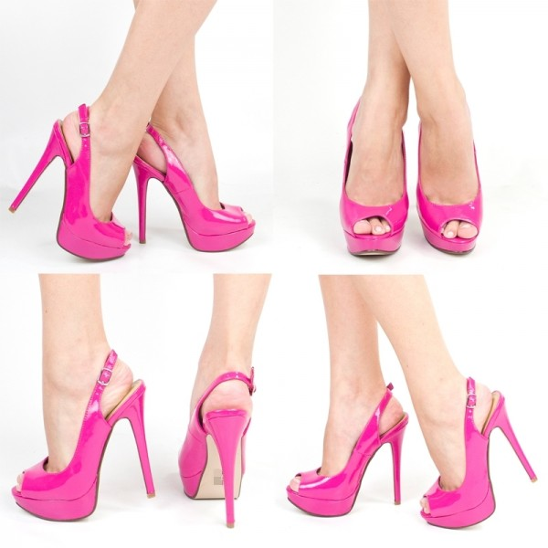 Rose Pink Sling Back Sandals With Platform image 1
