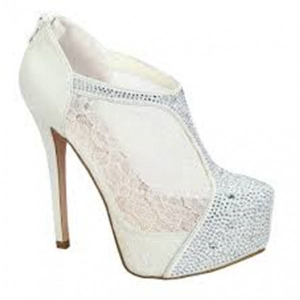 White Lace Stiletto Heel Wedding Ankle Booties image 1