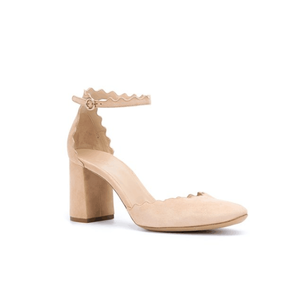 678858c2c51 Custom Made Nude Suede Ankle Strap Chunky Heel Sandals