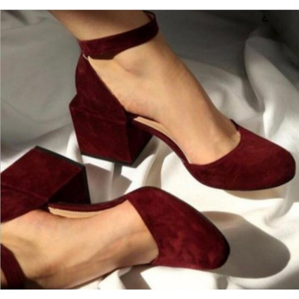 Red Suede Cube Heel Closed Toe Sandals