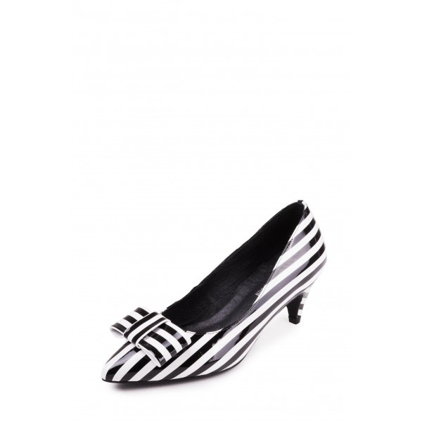 3df5c008d4b Custom Made Black and White Stripes Kitten Heel Pumps