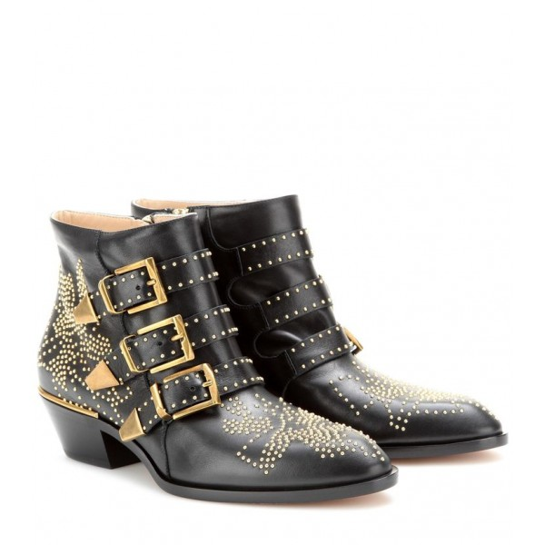 Custom Made Black Studded Buckle Boots image 1