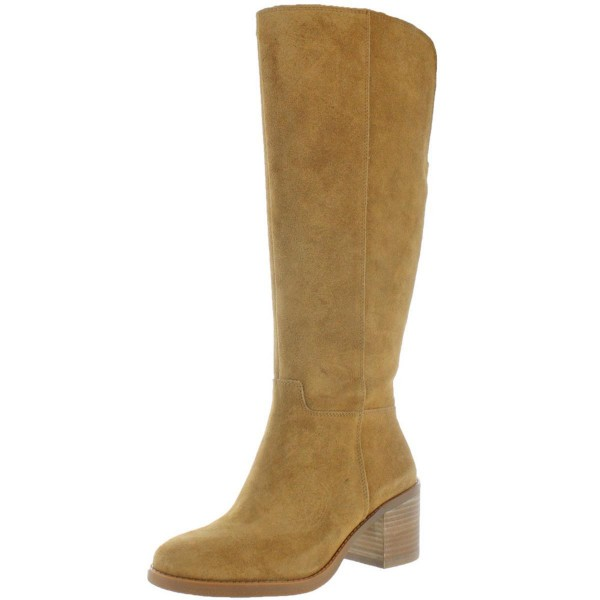 Custom Made Tan Block Heel Suede Boots image 1