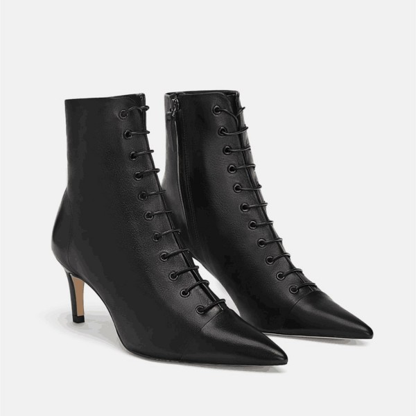 Custom Made Black Pointy Toe Lace up Ankle Booties image 1