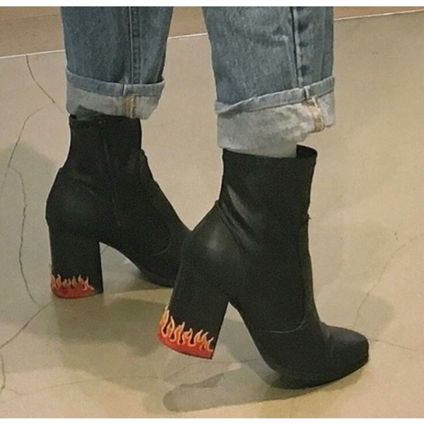 Custom Made Black Flame Style Ankle Boots image 1