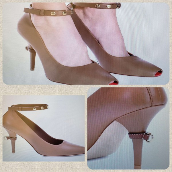 Custom Made Tan Ankle Strap Pumps image 1