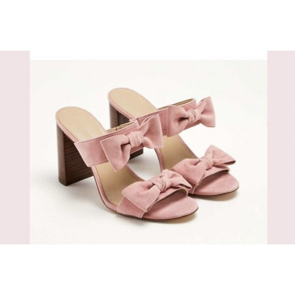 Custom Made Pink Bow Chunky Heel Sandals image 1