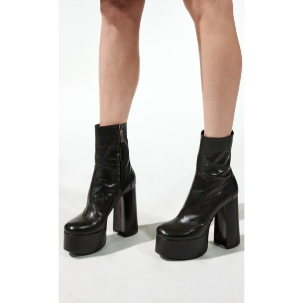Custom Made Black Chunky Heel Platform High Heel Ankle Boots image 1