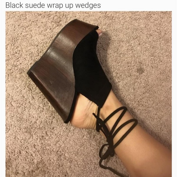 Custom Made Black Suede Wrap up Wedges image 1